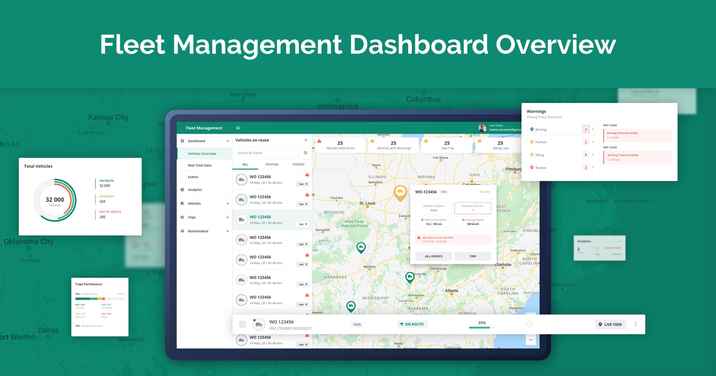 Fleet Management Dashboard overview and development steps