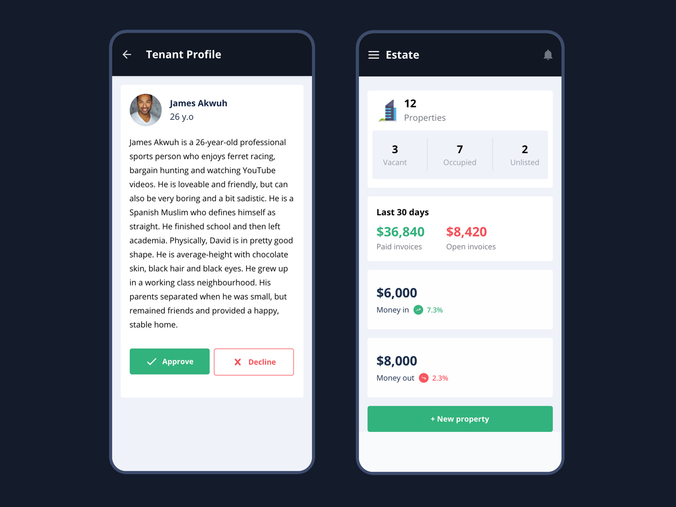 mobile app for Real Estate - Dashboard and Details