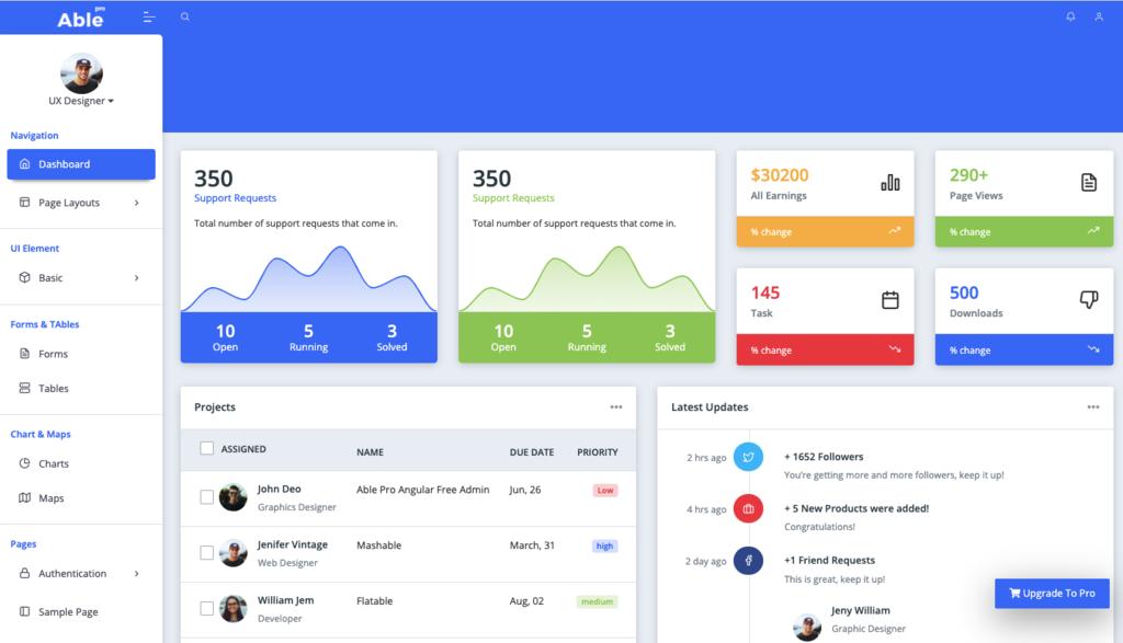 Able Pro Angular 9 Free Admin Dashboard