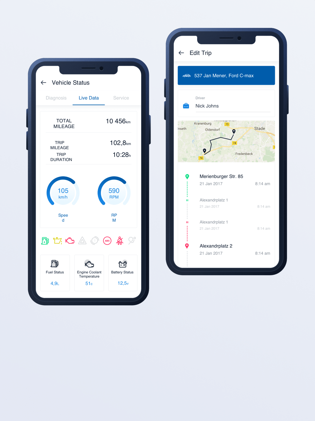 The mobile application for driver assistance