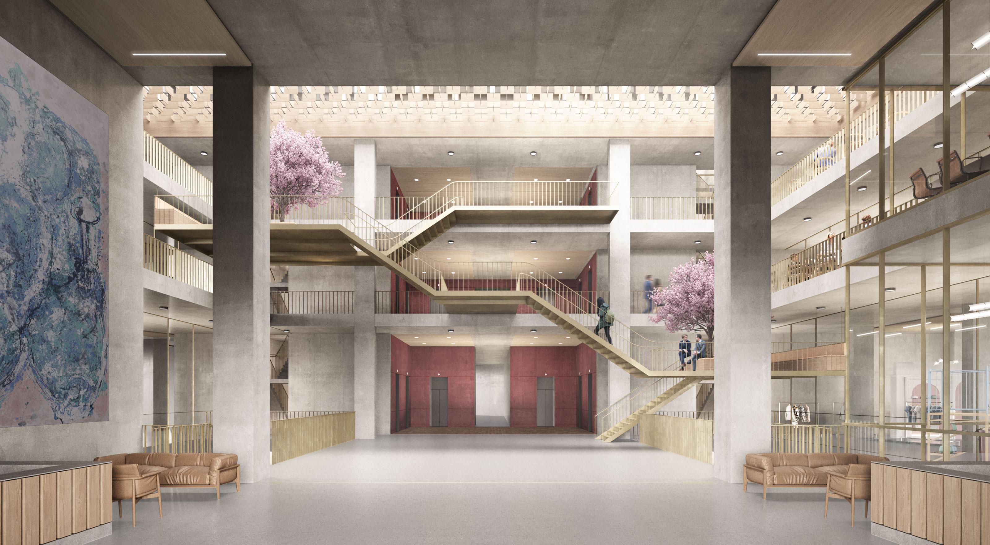 Architecture Brutalist Concrete Lobby Office