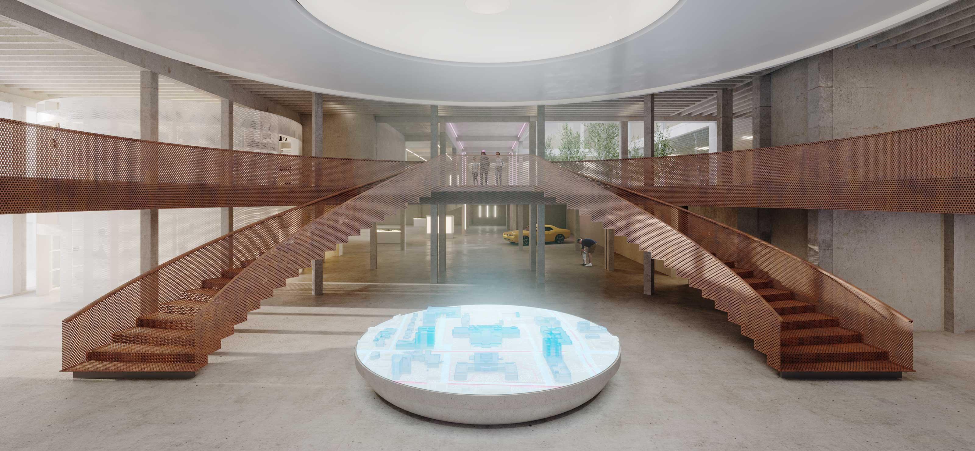 architecture interior concrete brutalist detroit