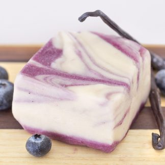 Our vanilla fudge swirled through the eye-catching blueberry fudge, makes this an idyllic pair! Made with Real Alaskan Blueberries.
