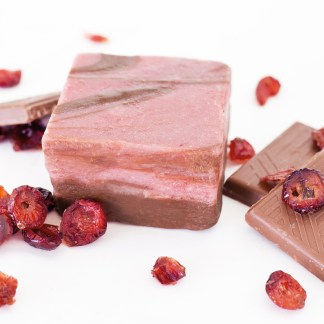 Chocolate and cranberry marbled together to form this amazing combo of flavors! Made with real Alaskan Cranberries.