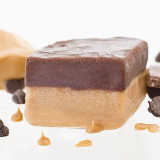 A layer of silky, smooth peanut butter fudge, topped with an equal layer of creamy chocolate.