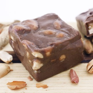 Caramel and peanuts swirled throughout our velvety classic, chocolate fudge. A well known Snicker's combo!