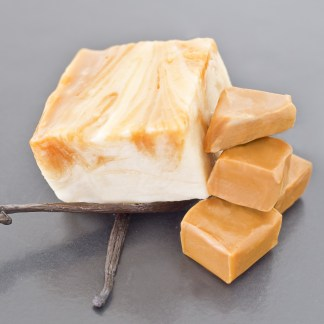 Yummy, gooey steams of caramel running through our velvety, smooth vanilla fudge.