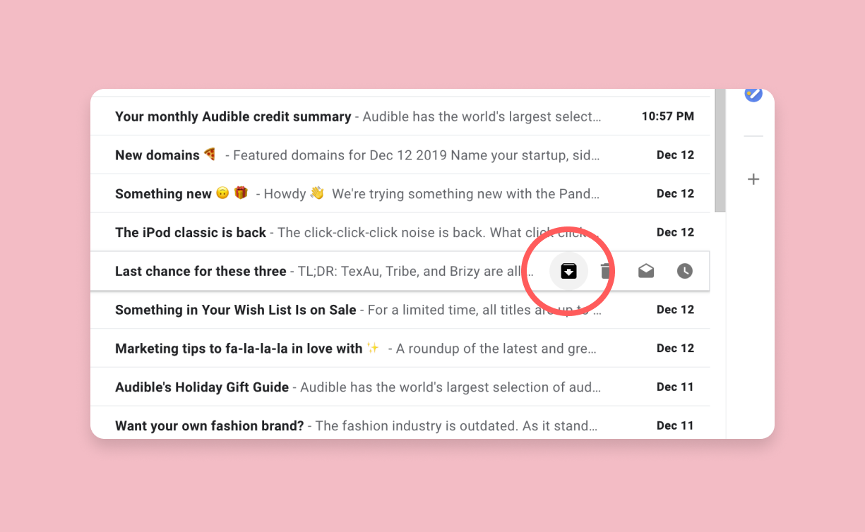 The archive icon is located in the quick action menu that appears when you hover a message in your inbox