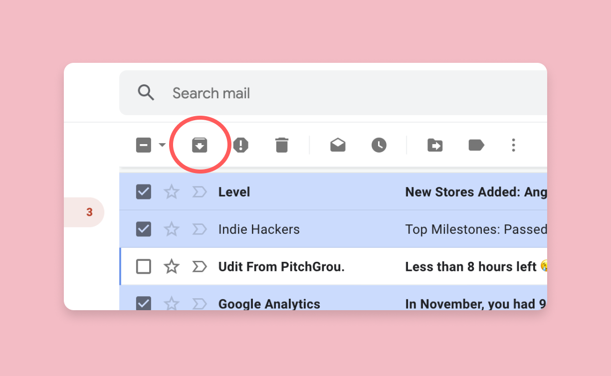 The bulk archive button is found at the top of your inbox when you mark an email.