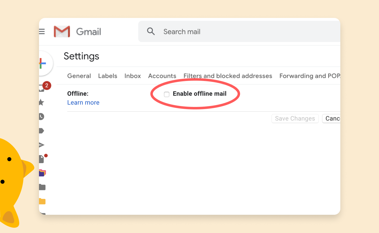 Check Enable offline mail