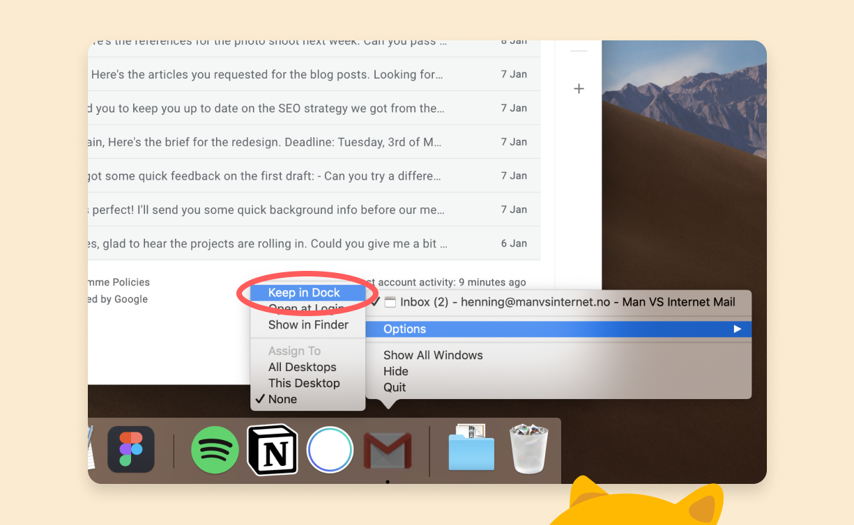 Select Keep in Dock