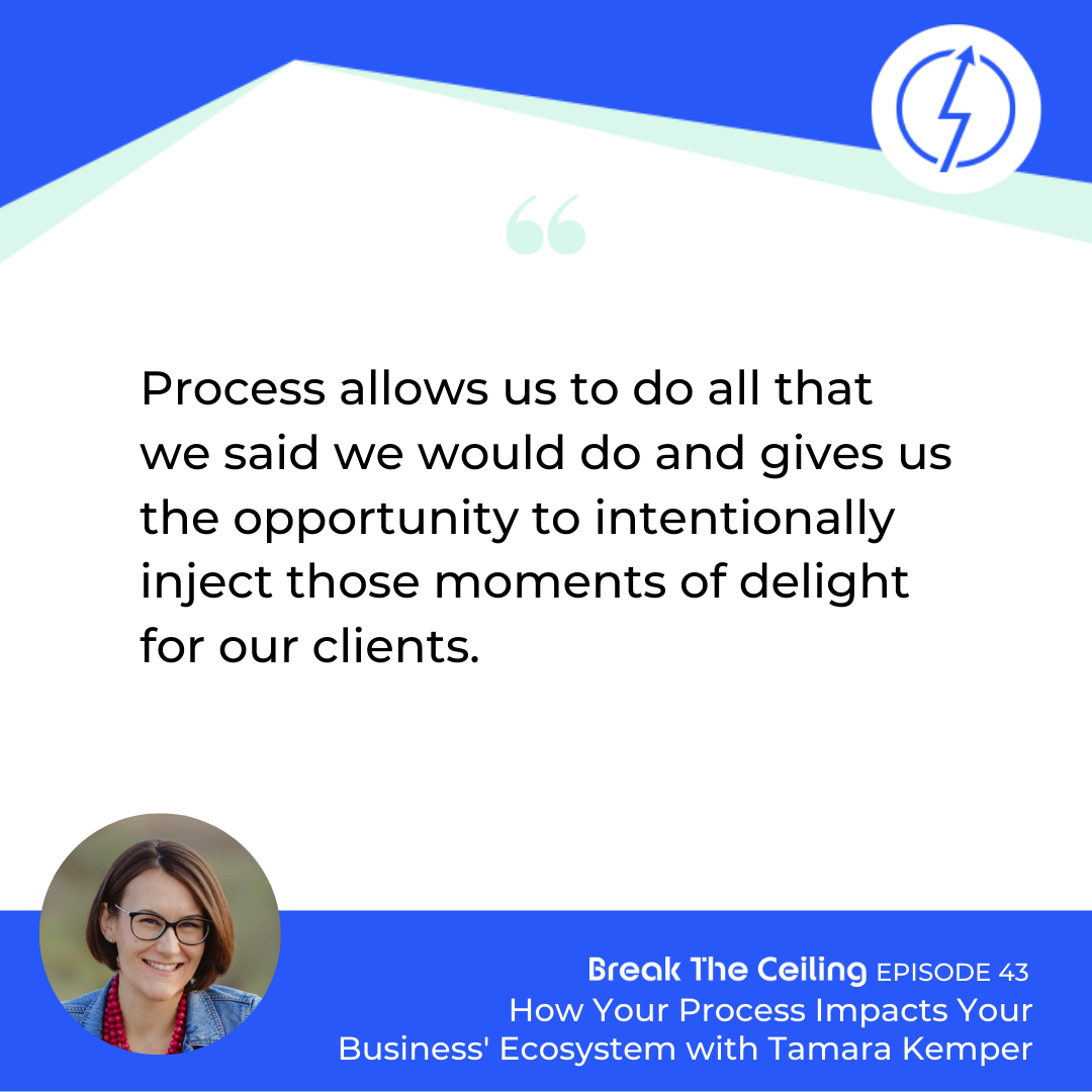 "Quote: ""Process allows us to do all that we said we would do and gives us the opportunity to intentionally inject those moments of delight for our clients."" - Tamara Kemper"