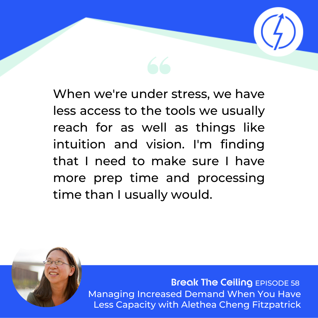 "Quote: ""When we're under stress, we have less access to the tools we usually reach for as well as things like intuition and vision. I'm finding that I need to make sure I have more prep time and processing time than I usually would."" - Alethea Cheng Fitzpatrick"