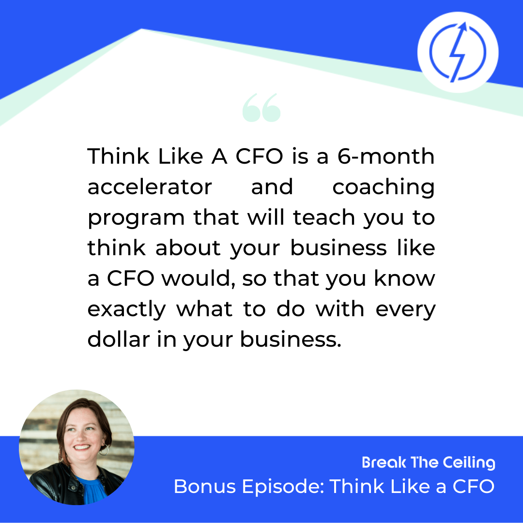 "Quote: ""Think Like A CFO is a 6-month accelerator and coaching program that will teach you to think about your business like a CFO would, so that you know exactly what to do with every dollar in your business."" - Susan Boles"