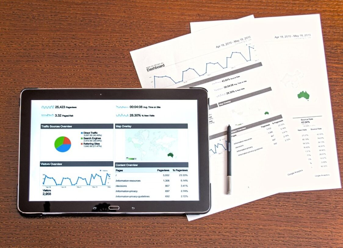 Tablet with financial reports