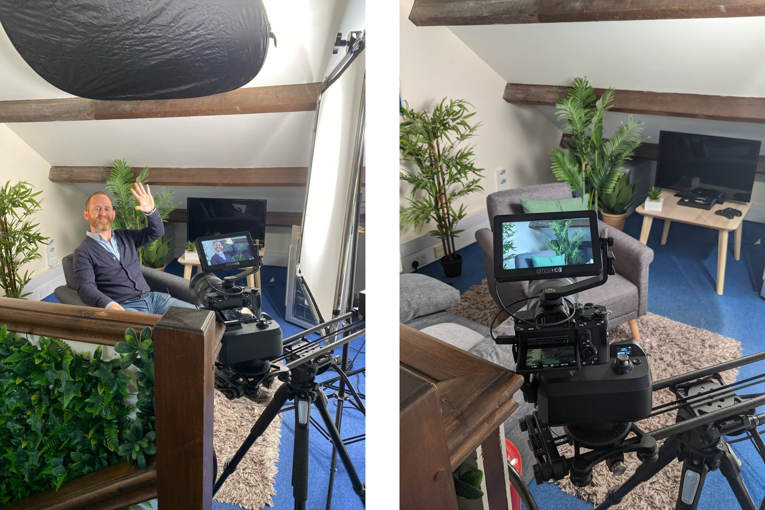 behind the scenes filming Aaron at the Evergreen office