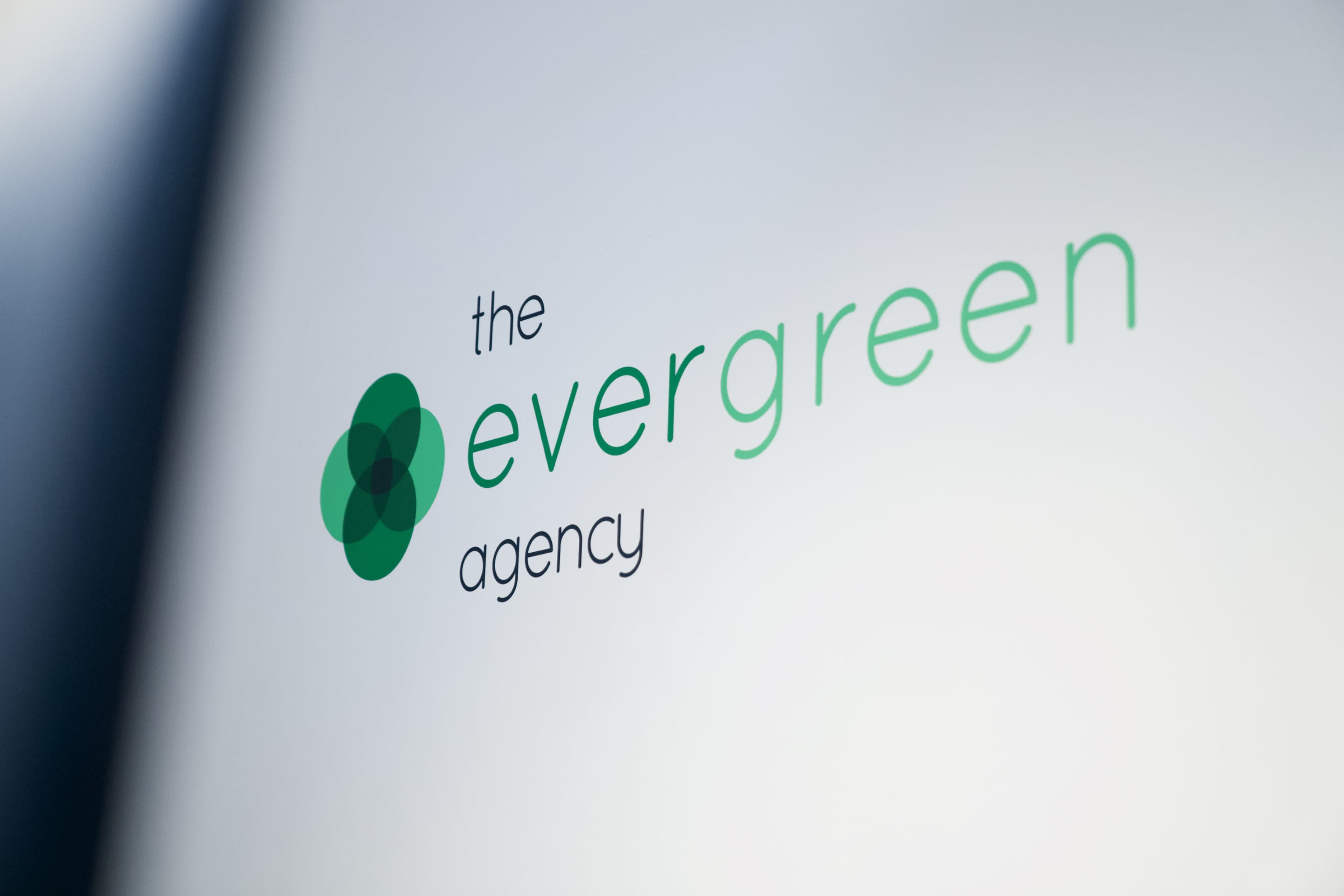 The Evergreen Agency logo on a white wall in their office