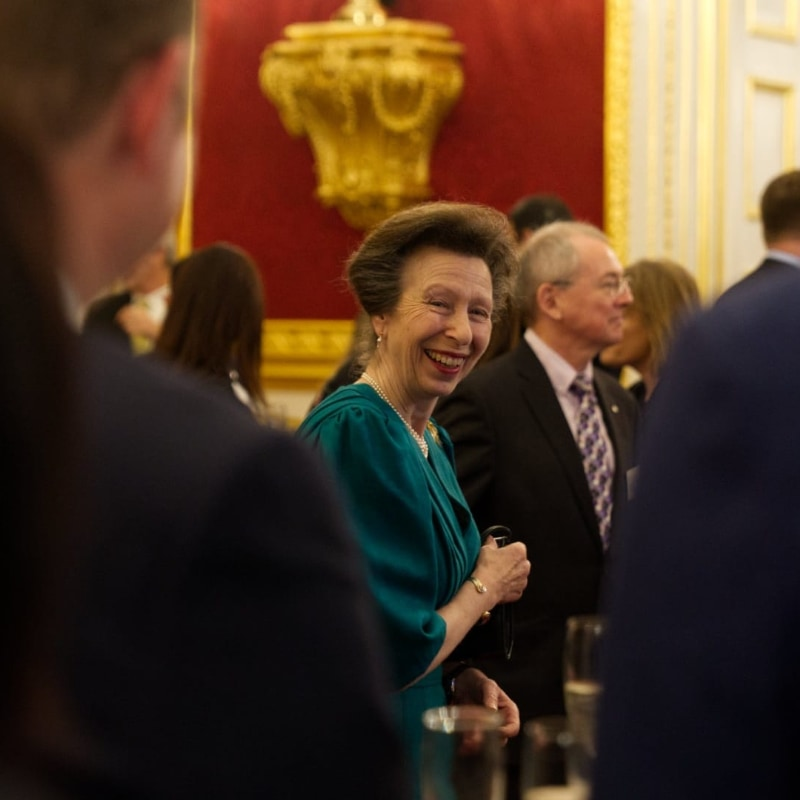 Princess Anne wearing a green dress in St. James's Palace