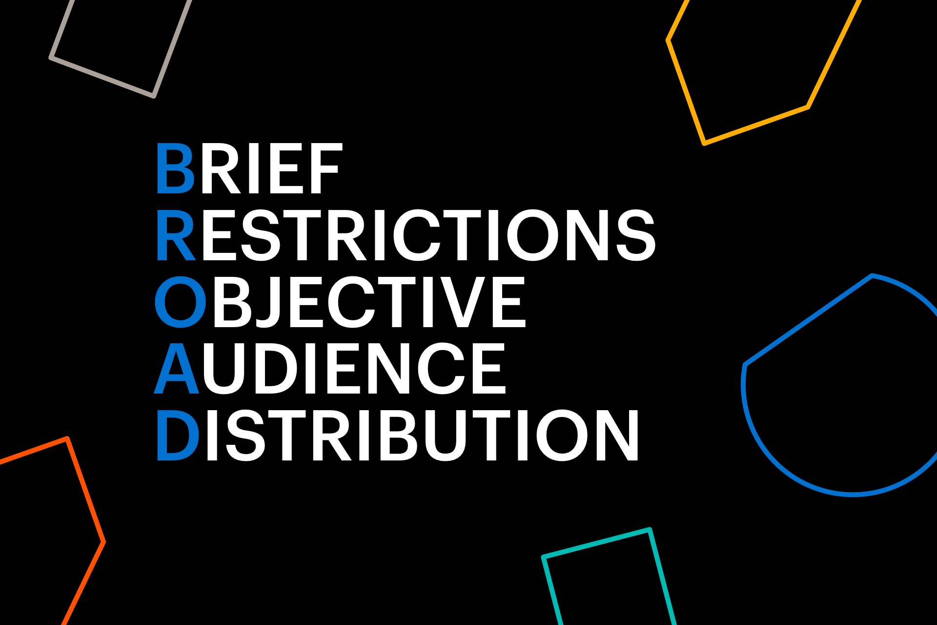 Graphic with Brief, Restrictions, Objective, Audience, and Distribution written on a black background with colour shapes around the border.