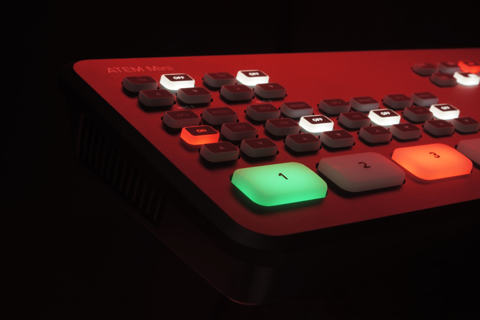 Atem Mini video switcher with coloured buttons