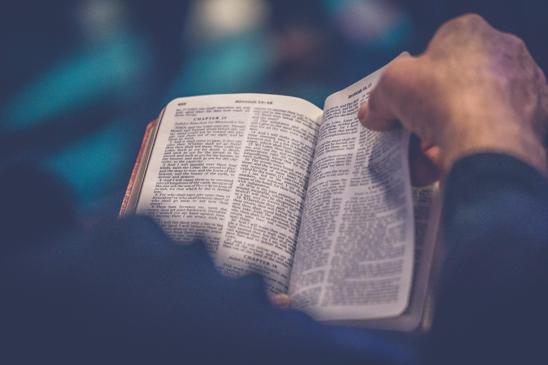 Man flipping through Bible