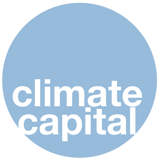"""Climate Capital logo. A blue circle with the words """"Climate Capital"""" written in white."""