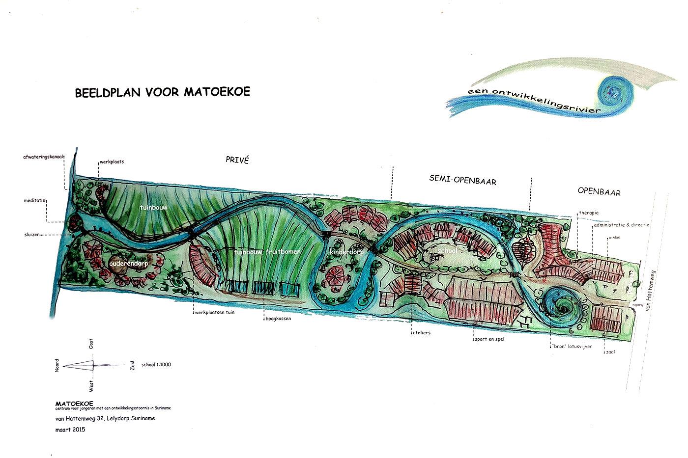 Beeldplan van het terrein met veel groen en hout en organische vormen.