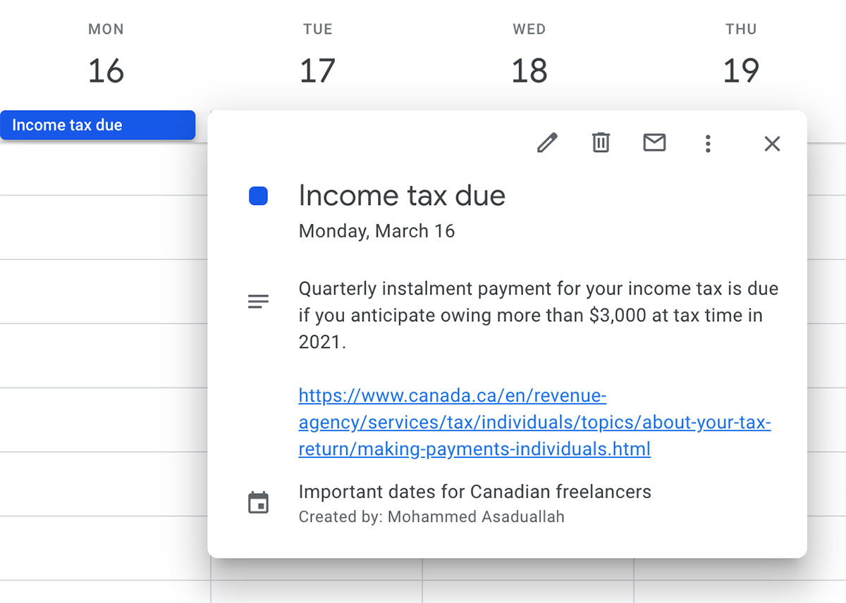 Screenshot of calendar with important dates for Canadian freelancers