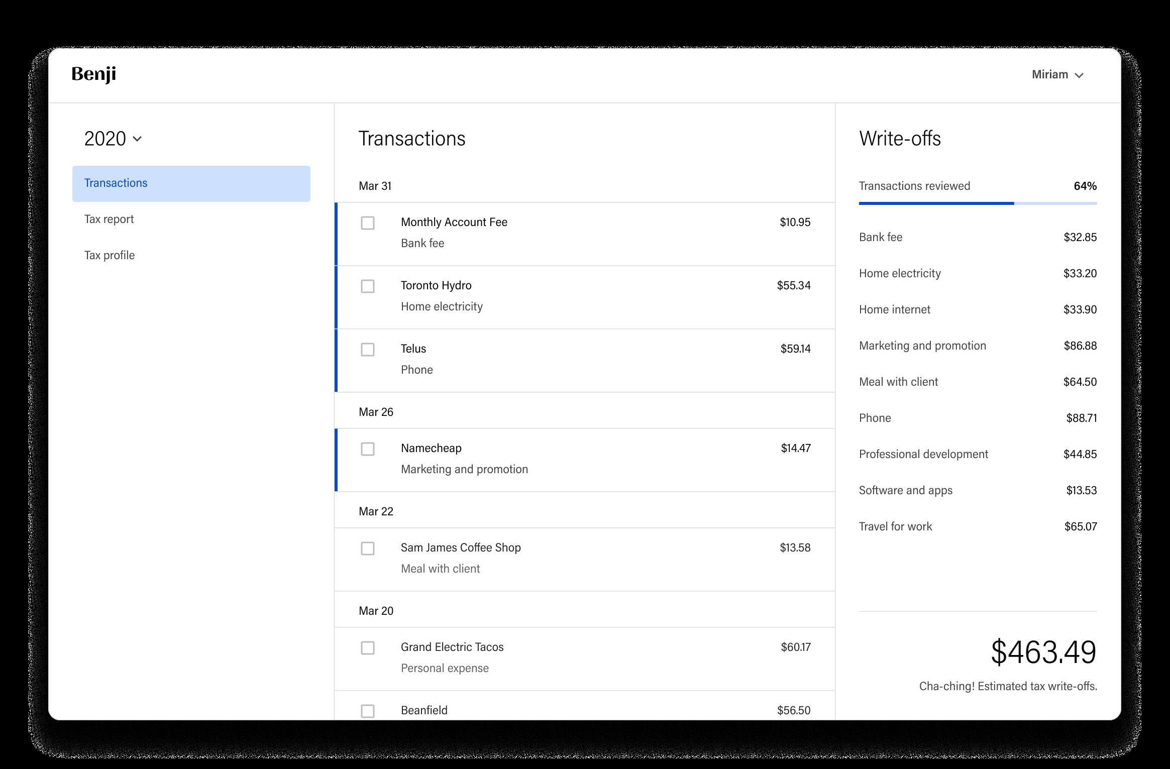 Screenshot of Benji — an online tax solution that finds tax write-offs for Canadian freelancers