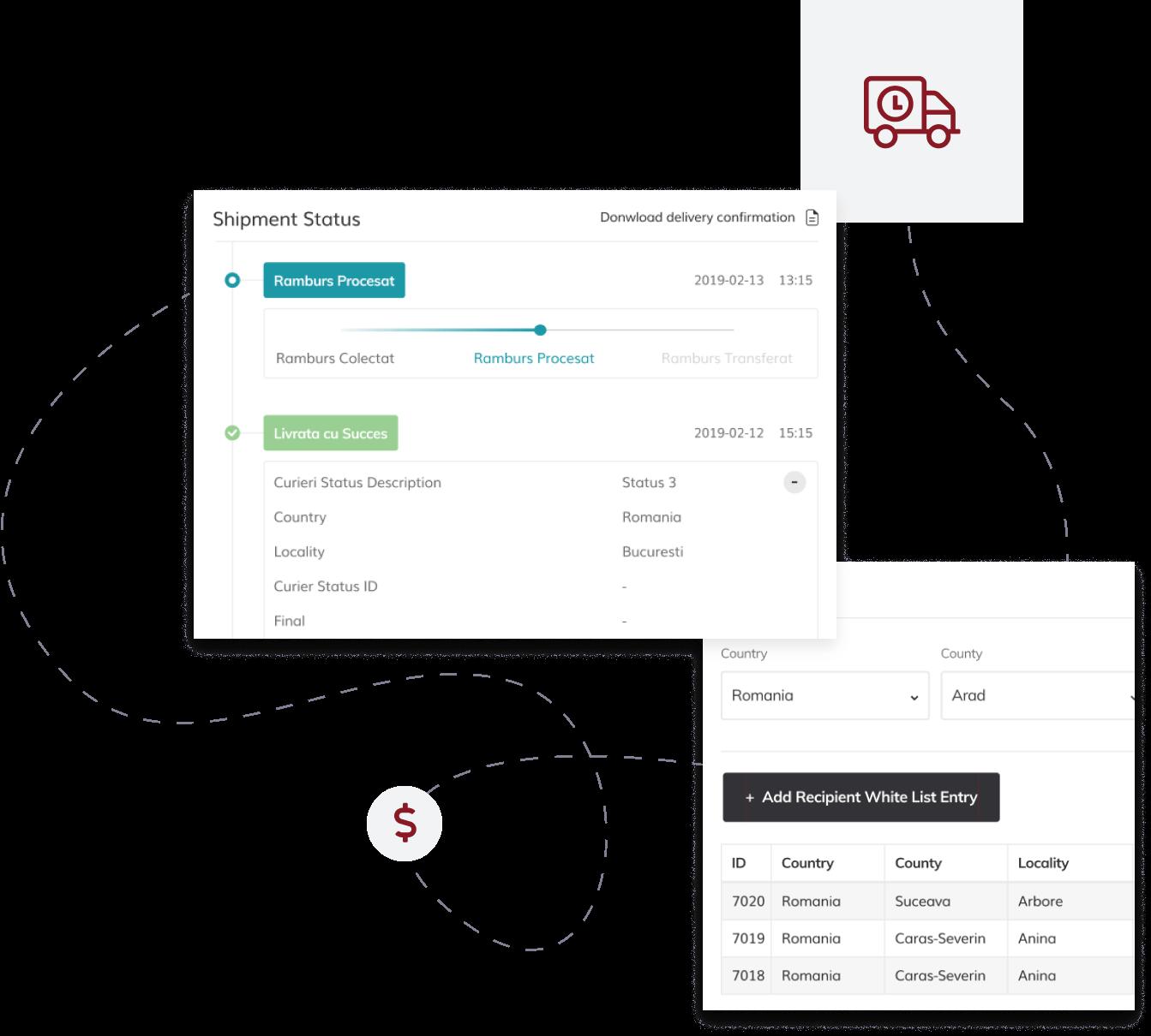 postis web platform screenshots, money symbol and transport icon