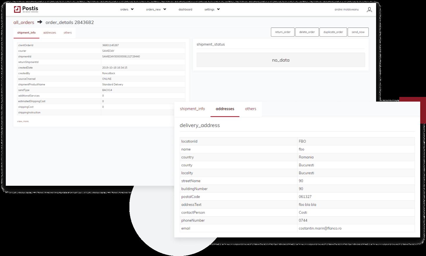 postis web platform screenshots, order shipping details
