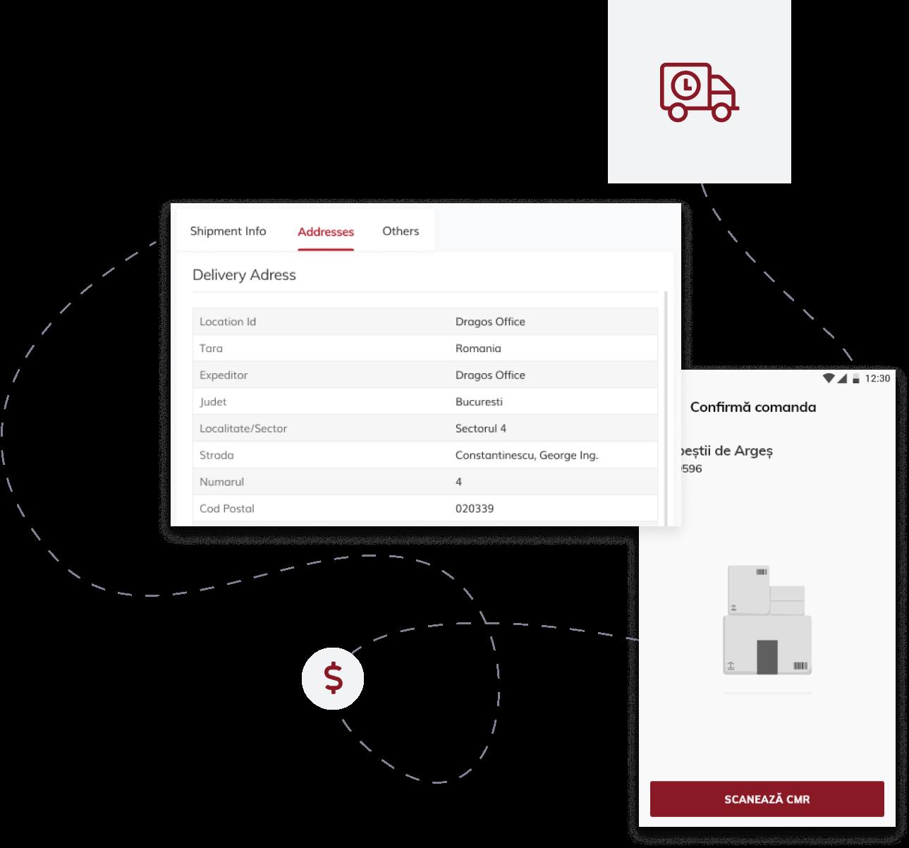 image of dolar sign, parcel transport car and postis web platform shipment-info screenshot