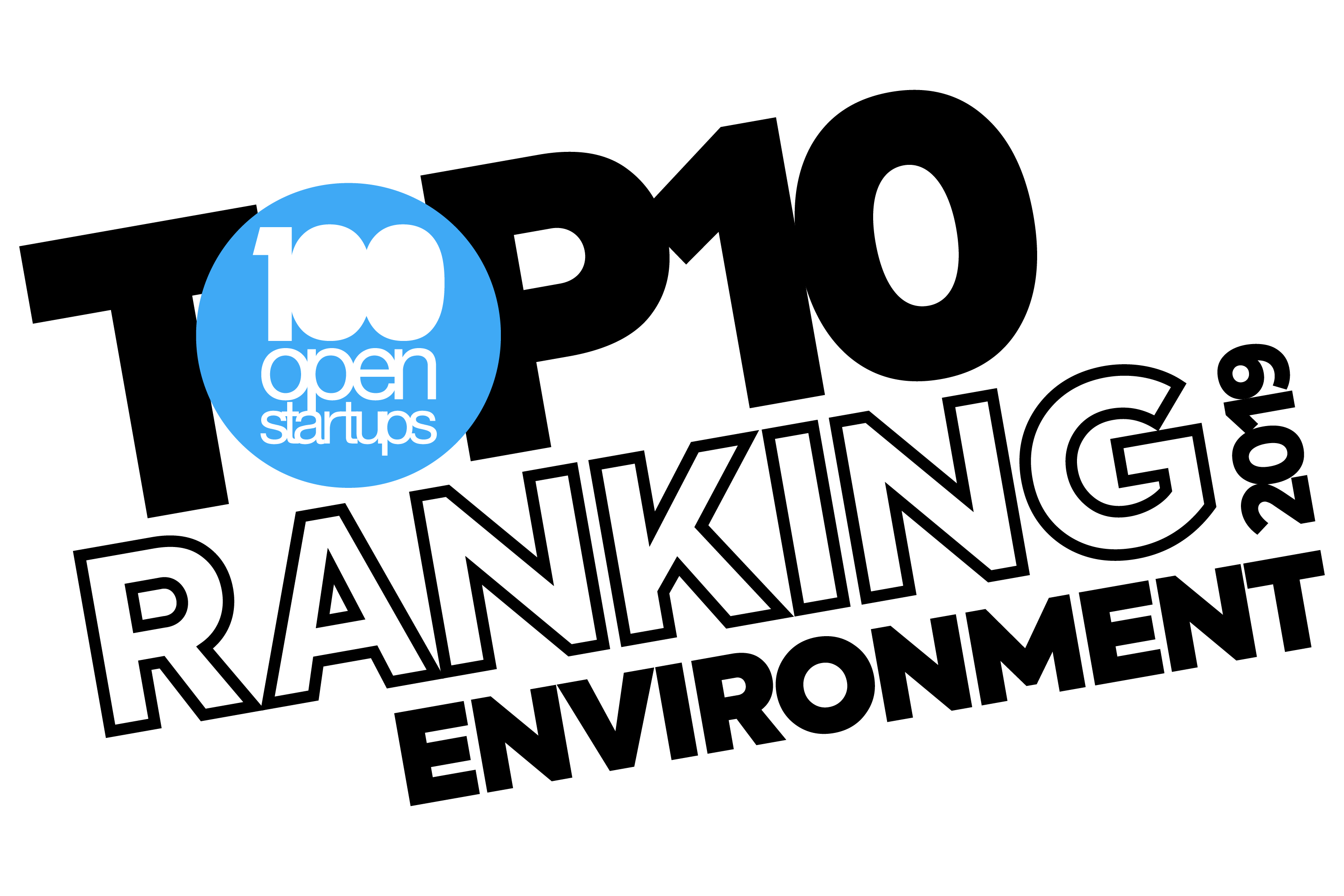 selo Top 10 Ranking Environment 2019 do 100 Open Startups