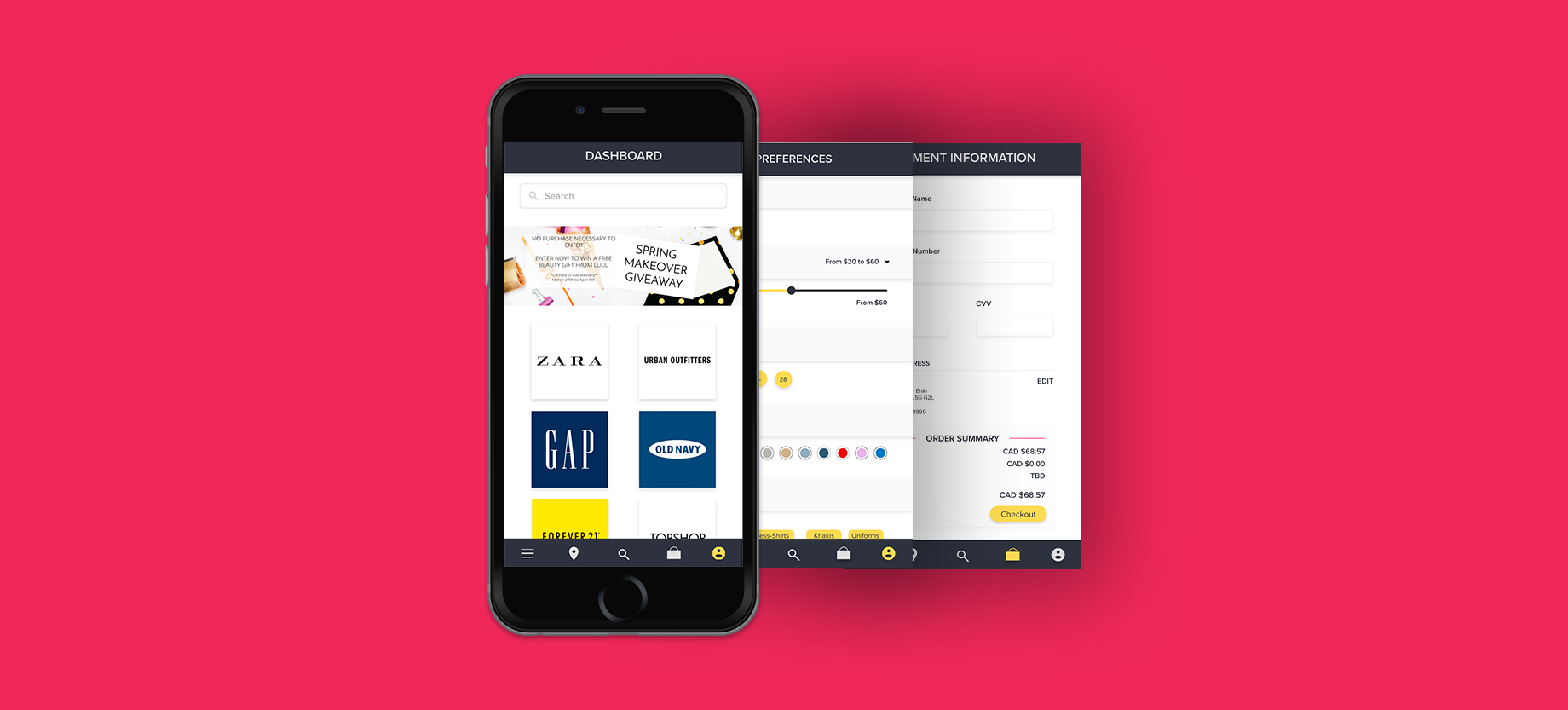 Phone with three screens for Shop Easy app. First Screen is dashboard with different store, second screen is preferences, and third screen is payment page.