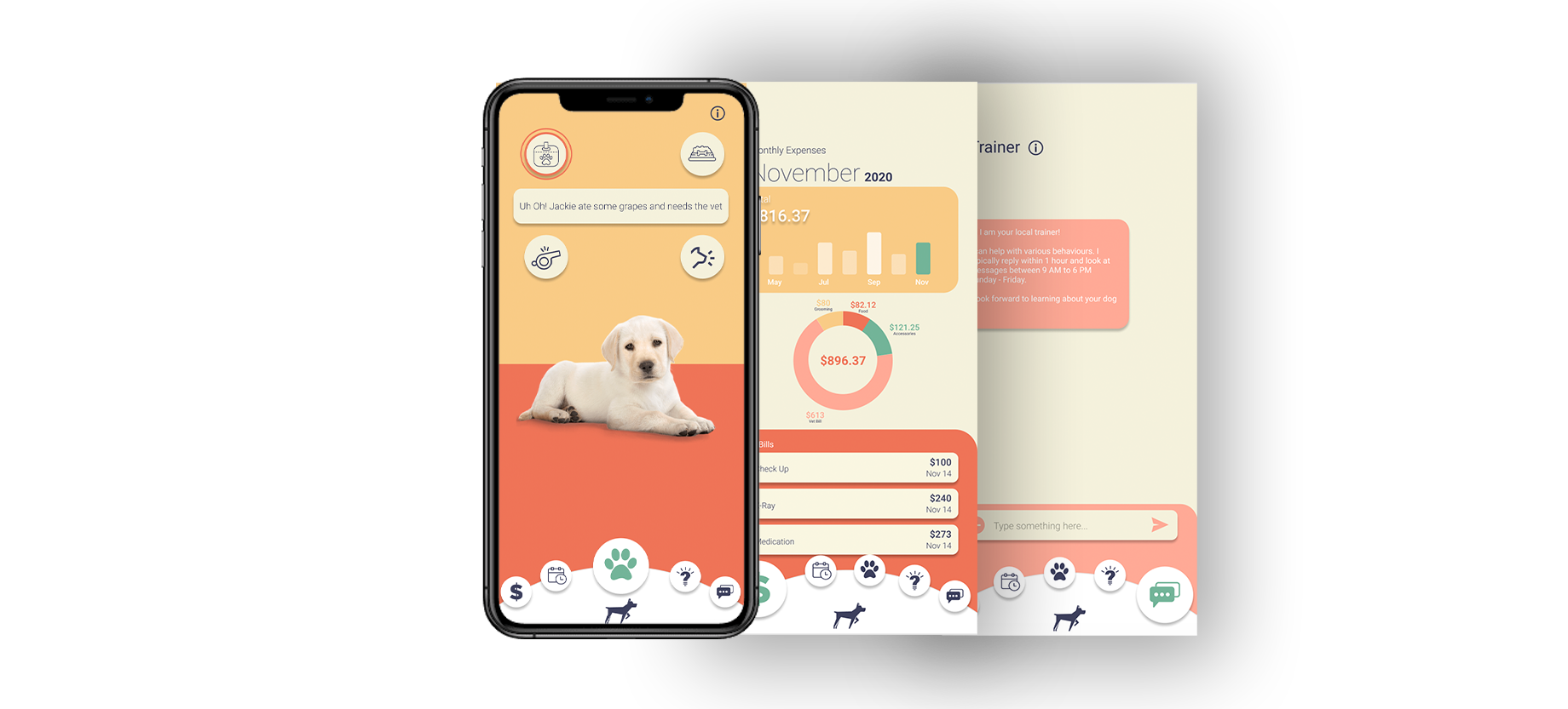 An iPhone with images of a pet care app