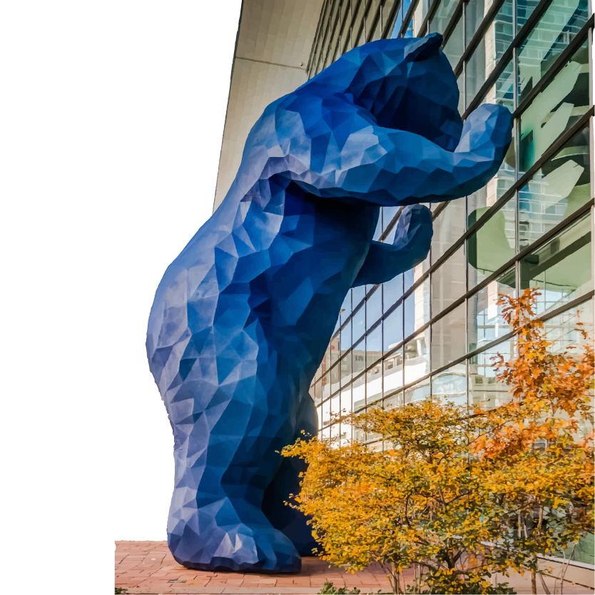 blue bear outside of colorado convention center curiously looking inside