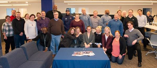 "Who works at Magellan, and who used to play professional football for Chicago Bears? On October 30, we welcomed a visit from James ""Big Cat"" Williams, Jay Hilgenberg, Brandon McGowan and Johnny Knox, along with staff from Halas Hall. Go Bears, Go Magellan!"