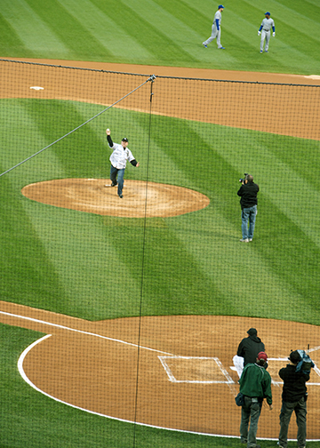 Frank Throws Out the First Pitch