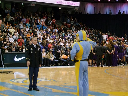 "Magellan Corporation employee, Sgt. Matthew Bell, was honored on Friday, September 12, 2014 during Game 3 of the WNBA Finals between the Chicago Sky and Phoenix Mercury. Matt was honored during the game's ""Military Moment"" for his service in the U.S. Army."