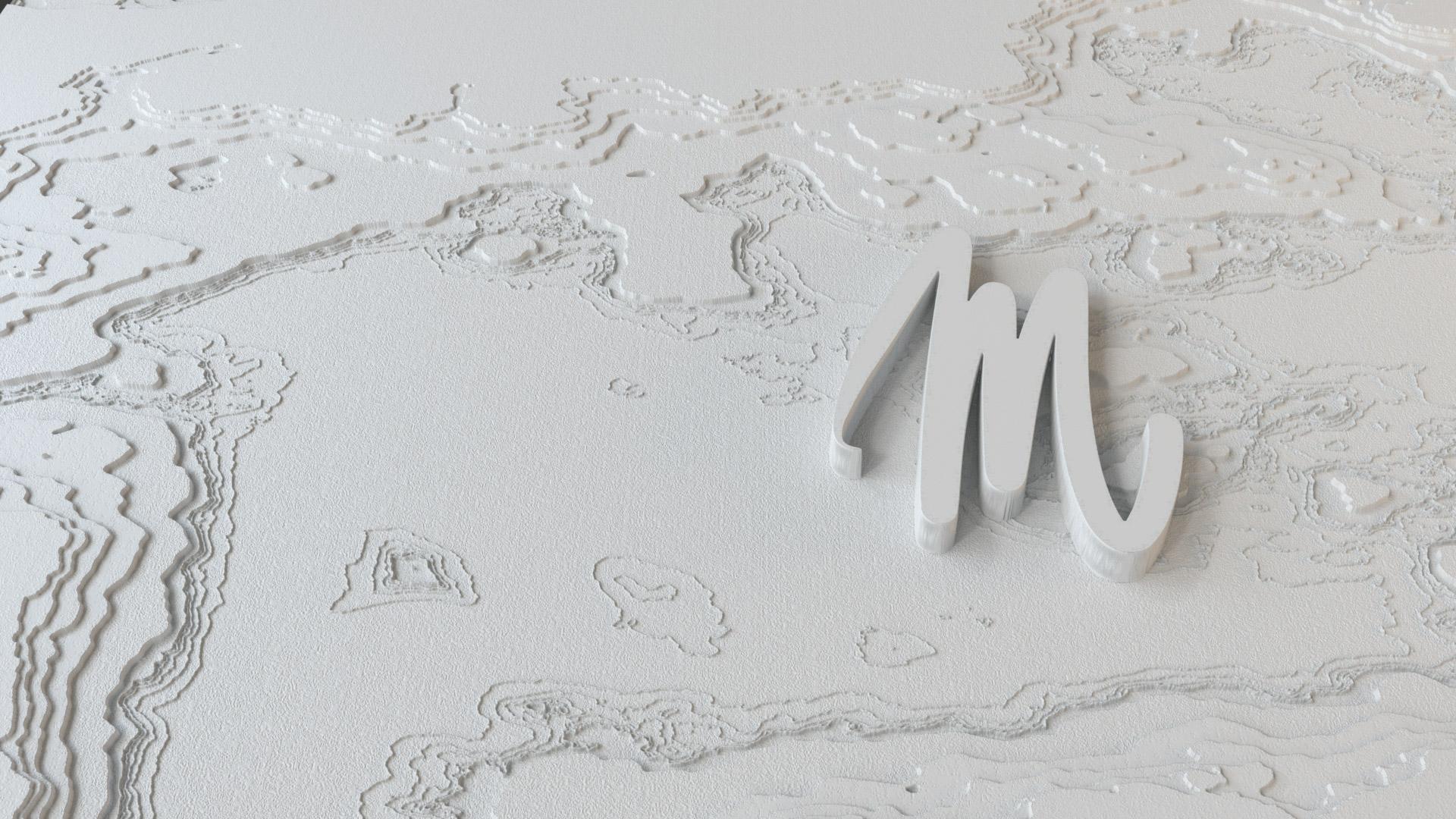Une carte sur fond blanc avec un relief qui représente les micro-sillons des disques vinyles et logo de Mine De Rien.