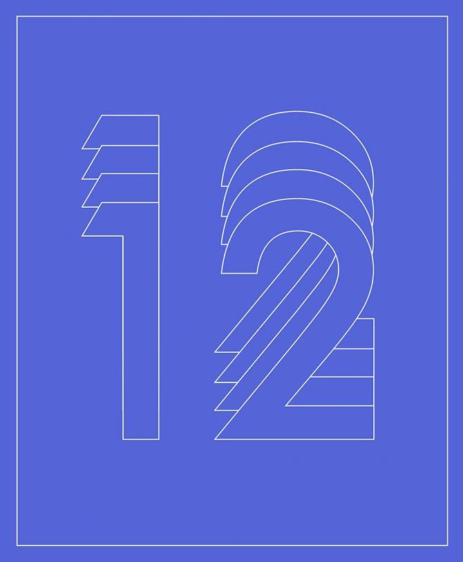 Die Zahl zwölf auf blauem Untergrund