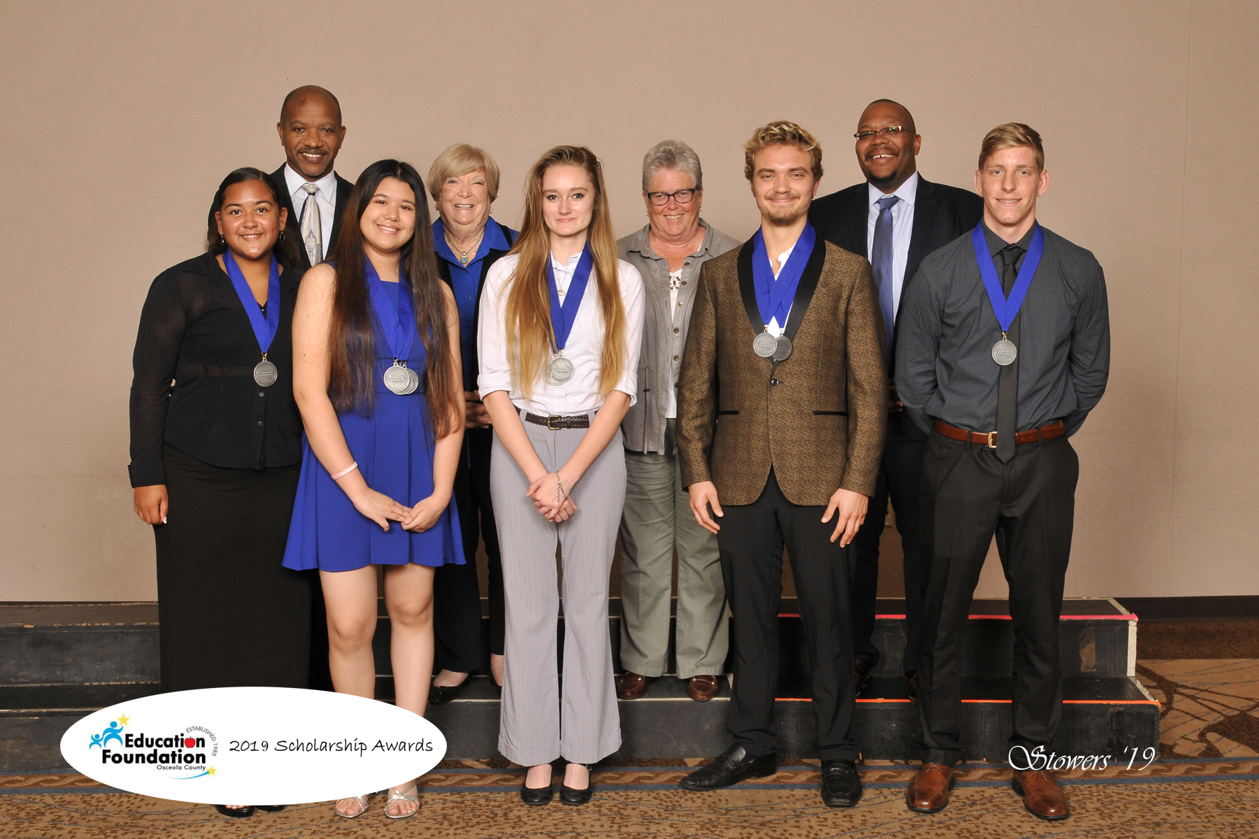 Picture of a group of students who were selected to receive scholarships.