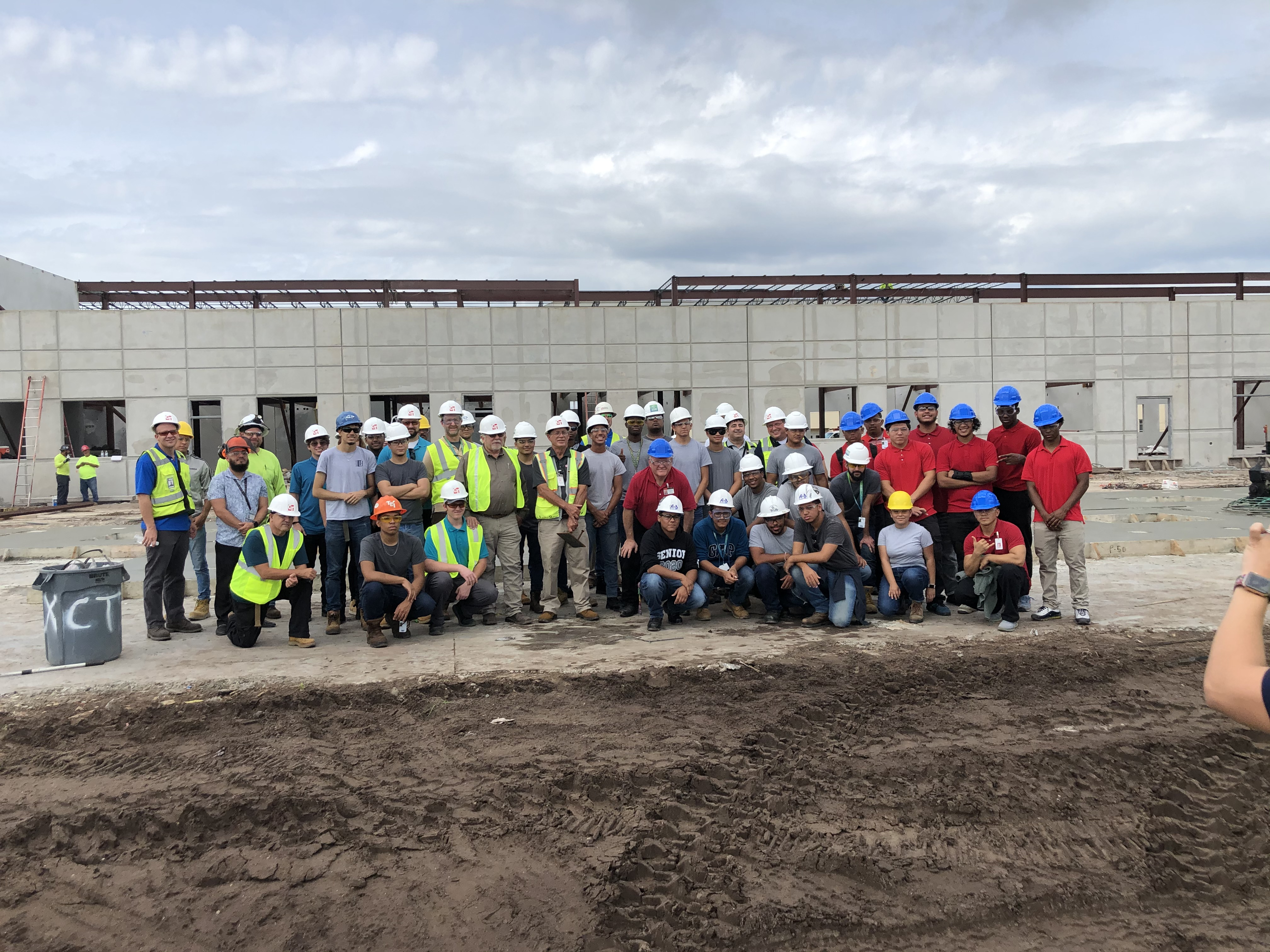 Photo of students from a construction pipeline site visit.