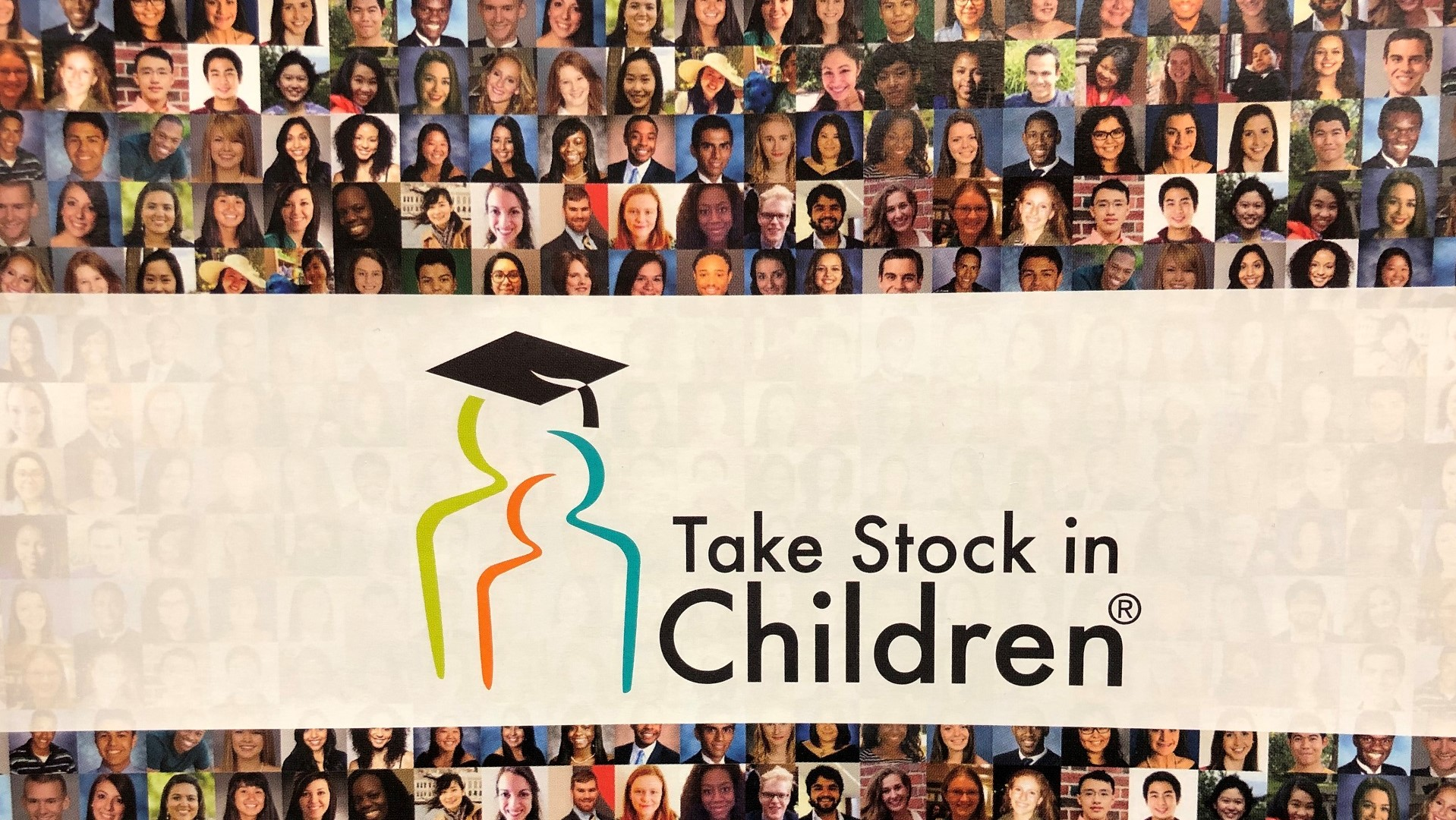 Header for the Take Stock in Children program. Has the name of the program with a mural of graduates.