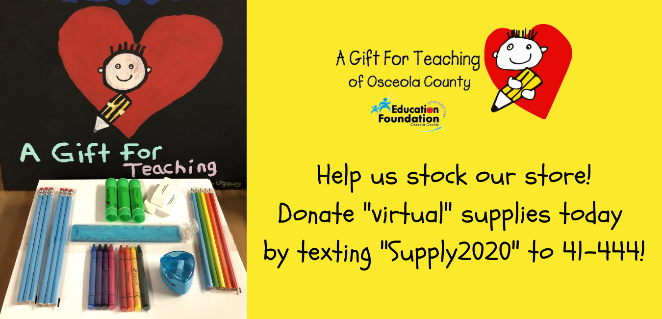 """Flyer to help contribute to a gift for teaching program. Donate by texting """"Supply2020"""" to 41-444"""