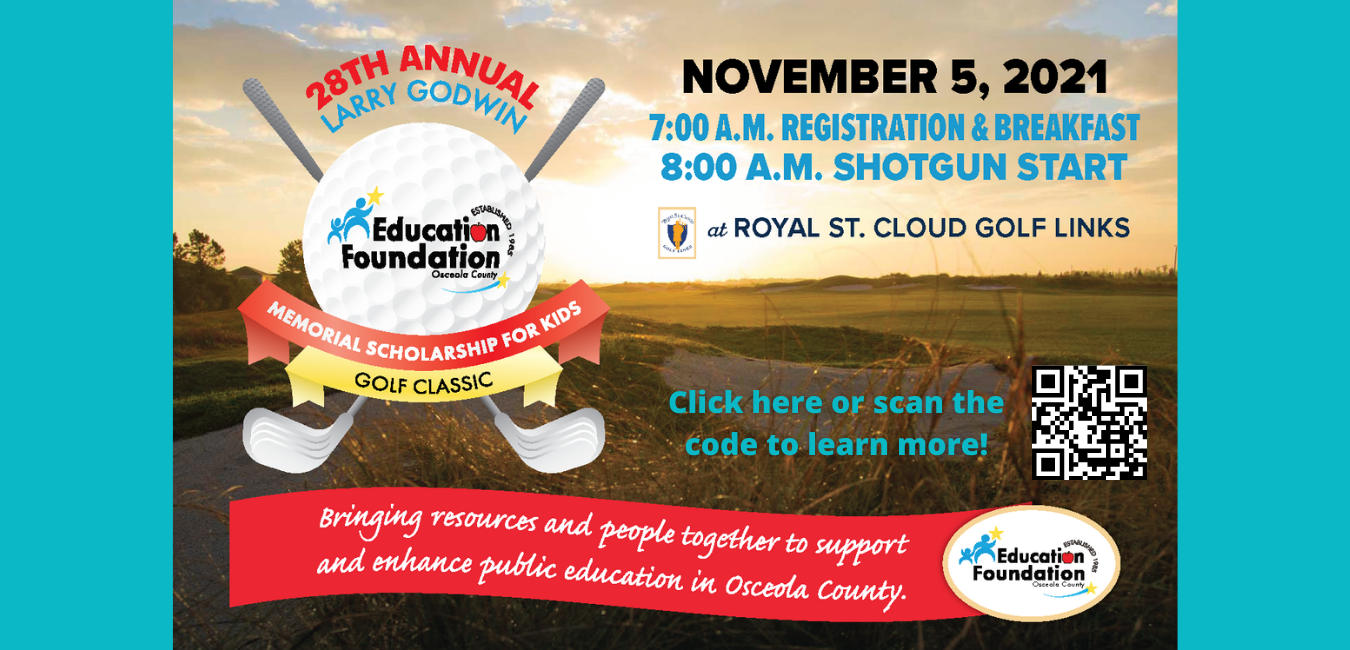 Image of our annual golf flyer. QR code to be scanned for more information