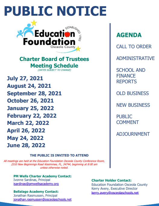 2021-22 Charter Board Meeting Schedule