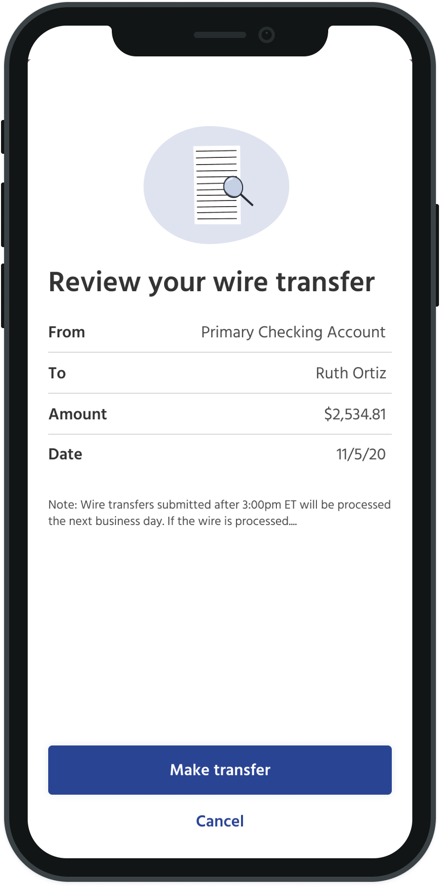 review wire transfer screen
