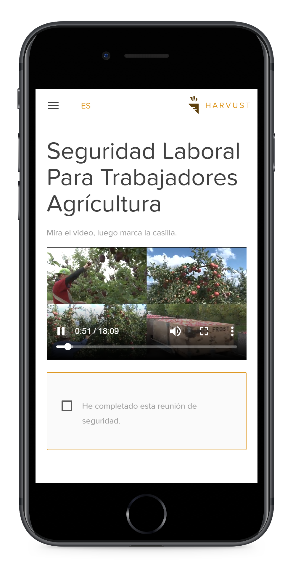 A smartphone showing how a farm worker would participate in a safety meeting