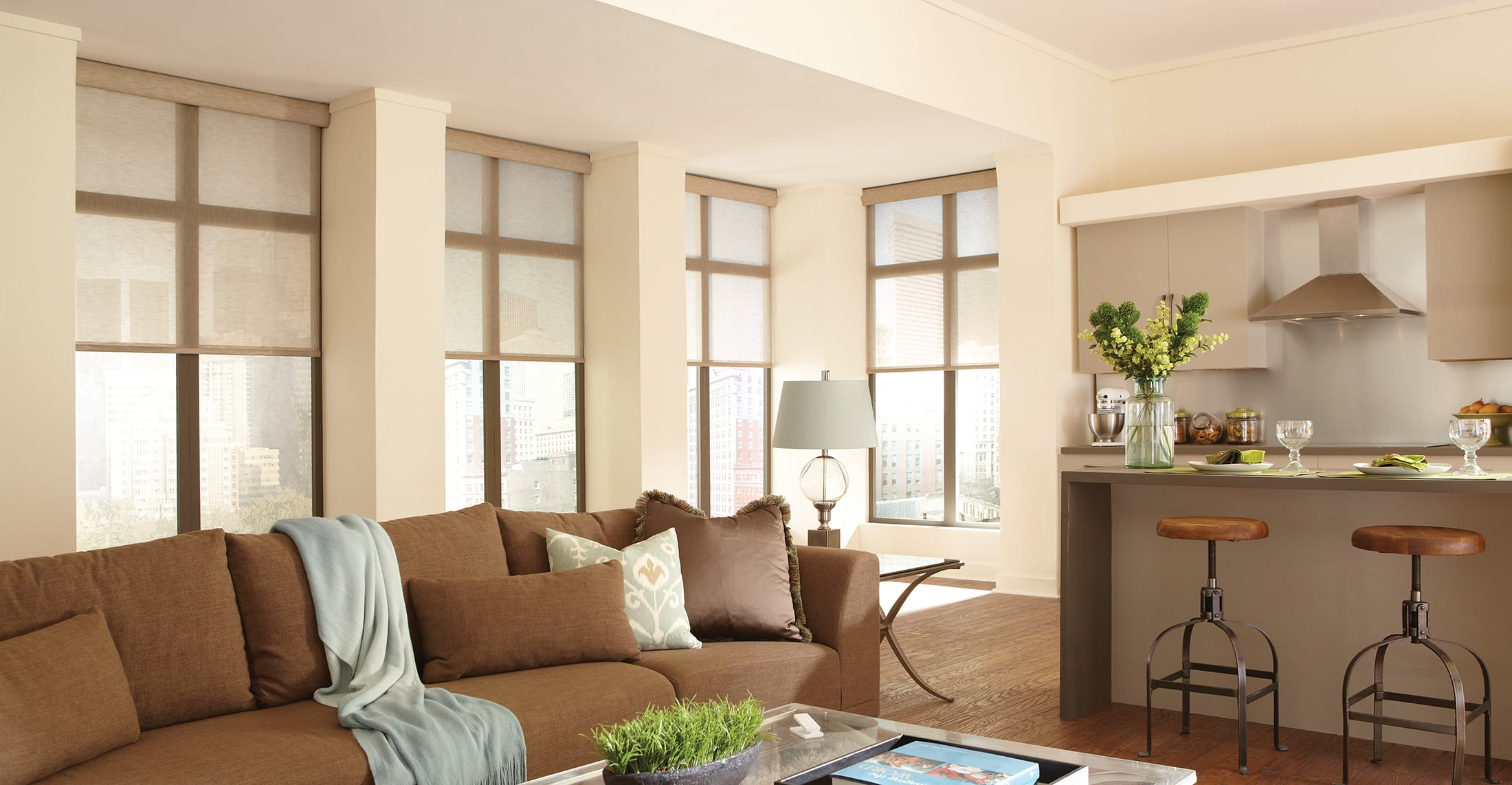 A living room with blinds on the windows